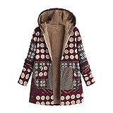 Mantel Damen Warm Wintermantel mit Kapuze Langarm Baumwolle Leinen Flauschigen Pelz Reißverschluss Jacke Dicke Fleecemantel Steppmantel Gefüttert