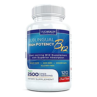 Fast Dissolving Sublingual Vitamin B12 Supplement with 2500 mcg Methylcobalamin by Vivid Health Nutrition - Bioavailable, Vegan Safe and Non-GMO - 120 Fruit Punch Flavored Sublingual Tablets from Vivid Health Nutrition