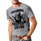 Stylotex Herren Slimfit T-Shirt Training Super Saiyan, Größe:S, Farbe:heather
