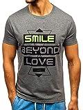 BOLF Hombre Camiseta de Manga Corta con Impresión Print Escote Redondo Estilo Deportivo J.Style 10877 Gris Oscuro L [3C3]