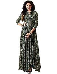 Royal Export Women's Green Rayon Printed Cotton Kurta