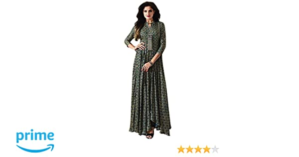 Royal Export Women s Green Cotton Party Wear Gown (Green 8dbbc47dc
