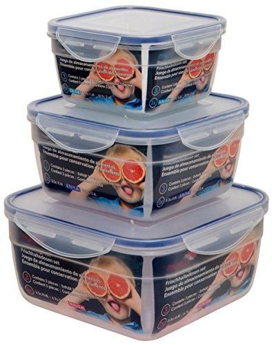 Maturi-Contenitore Quadrato ermetico per Alimenti, in plastica, Confezione da 3