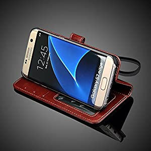 Bracevor Samsung Galaxy S7 Edge Premium Leather Flip Case, Inner TPU, Wallet Card Slots, Stand Cover- Executive Brown