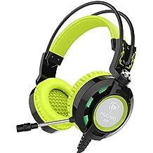 Cuffie Nubwo K6 sopra l'orecchio stereo di gioco cuffia con microfono Audiophile livello delle cuffie stereo con USB 2.0 (spie di alimentazione solo LED) +2 X 3,5 mm Connettori 2 Metri cavo Miglior bassi rinforzati (Nero/Verde)