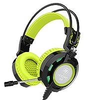 Auriculares, Nubwo K6 sobre el oído estéreo del juego de auriculares con micrófono, Audiófilo Nivel auriculares estéreo con USB 2.0 (potencia de las luces LED sólo) 2 X 3,5 mm Conectores de cable 2 metros Mejor realzó (Negro/Verde)