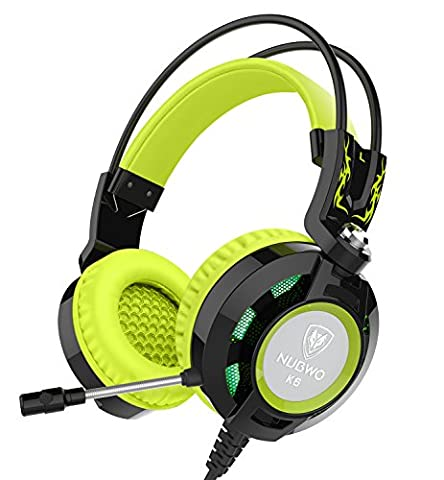 Headset Nubwo K6 Over Ear Stereo Gaming Headphones with Microphone and Volume Control for Gamer(Black green)