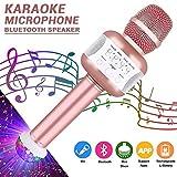 SellingMall Bluetooth Karaoke-Mikrofon mit Disco-Lichter, Mikrofon kabellos zur Aufnahme von Gesang und Stimme als Lautsprecher für PC, Laptop, iPhone, iPod, iPad, Android