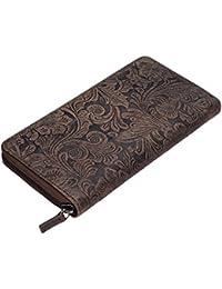 STILORD 'Aurelia' Cartera de mujer piel vintage monedero marrón portamonedas para rjeta de crédito identificación pasaporte de cuero estampación flores