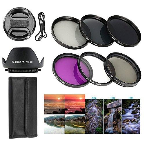 BPS 12pcs 52mm Pack de filtros ND ( ND2,ND4,ND8 )+Juego de filtros UV CPL FLD + Tulip Parasol de Objetivo+ Center Pinch Tapa del Objetivo con Guarda de Tapa+Bolsa para llevar filtro+Set de limpieza para Canon Nikon Sony Pentax Sigma y Otros lente de cámara con 52 mm filtro