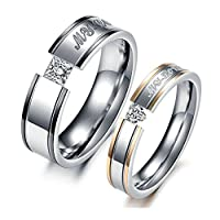 Stainless Steel Square and Heart CZ Engraved