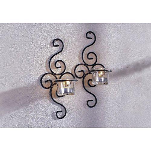 Unbekannt VARILANDO® Wand-Kerzenhalter aus Metall und Glas im 2er-Set für Teelichter Teelicht-Halter Advent
