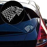WYJW 2PCS Starks du Jeu du trône Autocollant de décalque pour la fenêtre de la Voiture, Ordinateur Portable, Moto, Murs, Miroir et Plus, Autocollant de whitecar