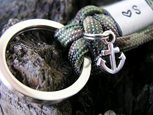 Schlüsselanhänger Männer Frauen mit Gravur silber Valentinstag, Geburtstagsgeschenk, Anker