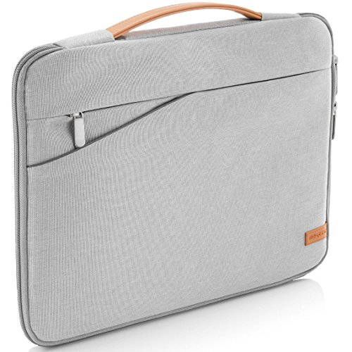 deleyCON borsa notebook per Macbook / Laptop fino a 17,3' (43,94cm) - borsa / custodia in resistente nylon - 2 tasche porta accessori - grigio chiaro