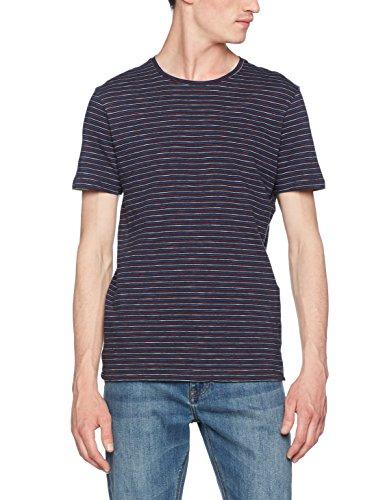 SELECTED HOMME Herren T-Shirt Shhcamp Ss O-Neck Tee Blau (Dark Sapphire Stripes:Haute Red/Seedpearl/Dazzling Blue)