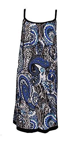 Robe D'été Longueur Genoux Motif Cachemire et Serpent - Taille Unique (38/44) Bleu