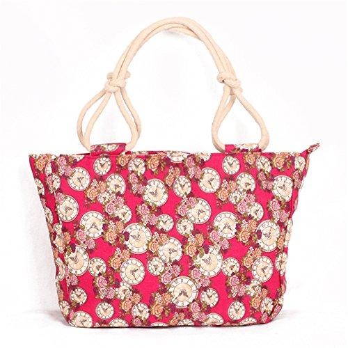 Fortunings JDS® Moda tela stampata stile cinghie di corda della borsa tote libro rosa rossa
