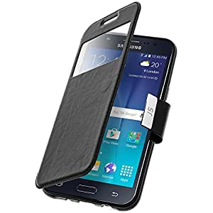 Housse, Etui folio à fenêtre - Noir pour Samsung Galaxy J5