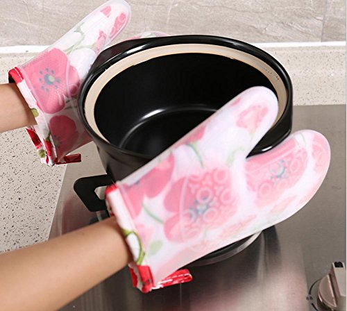 gymnljy kurz Absatz Plus Baumwolle Silica Gel Isolierung Handschuhe Hohe Temperatur Haarverdichtung Ofen anti-hot rutschsicheren Mikrowelle Ofen Handschuhe 2