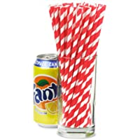 Red & White Striped Paper Straws 8inch - Pack of 25