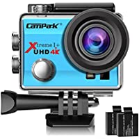 Campark Action Cam 2.0 Inch Wifi 4K Action Camera Helmet Camera Underwater 170 Degree Wide Angle Camera 1080P Full HD DV Camcorder HDMI Output Time Lapse Slow Motion - Blue