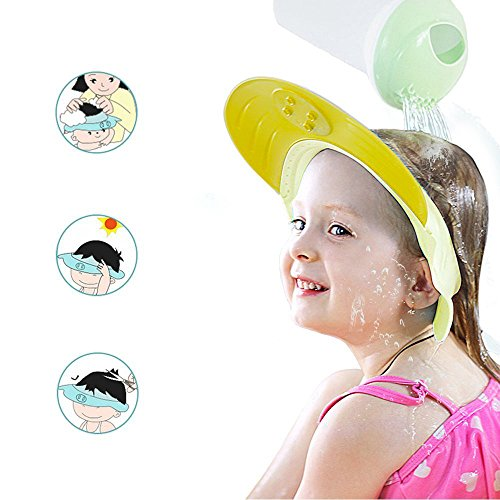 ONEDONE Adjustable Shower Cap Shampoo Protect Hats Funny Soft Silicone Shade Cap Suitable for Adults or Kids (Yellow)