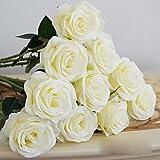 HuaYang-Fiore di seta artificiale, rosa, in lattice, per matrimonio, casa, ufficio, feste, colore: bianco (confezione da 2)