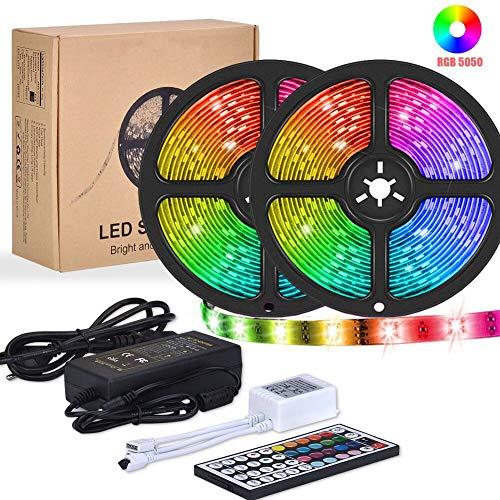 LED Streifen, Yormick 10M 300 LEDs SMD 5050 Led Strip Wasserdicht Flexibel RGB LED Bänder mit 44 Tasten IR Fernbedienung für Decke Bar Theke Schrank Beleuchtung -