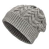 Weiche Damen Alpaka Mütze aus 100% Alpaka Wolle in 6 Farben - Hochwertige Winter Strickmütze/Beanie Wollmütze von HansaFarm, Hellgrau - NFA10, Einheitsgröße