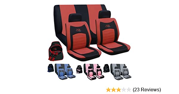 Grey NEW 15PC UNIVERSAL FULL CAR SEAT COVER SET RS STYLE GREY BLACK WASHABLE PINK RED