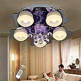 Natsen Fernbedienung LED Deckenlampe 5-flammig Kristall Deckenleuchte Designer Wohnzimmer Lampe LED E27 70cm
