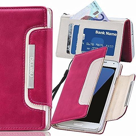 Original Numia Design Luxus Bookstyle Handy Tasche Nokia Lumia 830 Pink-Weiss Flip Style Case Cover Gehäuse Etui Bag Schutz Hülle