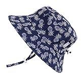 UV-Schutz-Sonnenhut aus Baumwolle fürs Kleinkind (Junge) 50 UPF, Kordelzug verstellbar, zum Verstauen geeignet (Mittel / 6-30 Monate, Eimer Hut: Navy Ananas)
