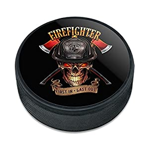 Graphics and More Feuerwehrmann Totenkopf FIRST in Last Out Feuerwehr Ice Hockey Puck