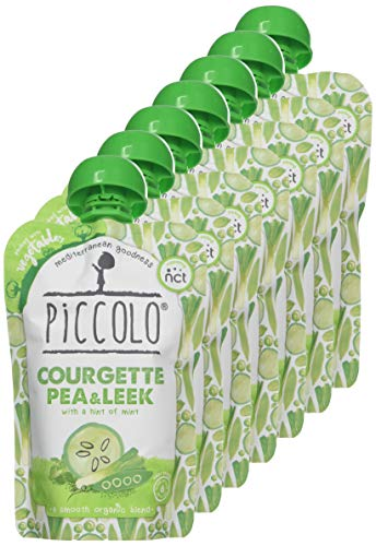 Piccolo Organic - Courgette, Pea and Leek Puree - Stage 1 Baby Food, 100 g (Pack of 7)