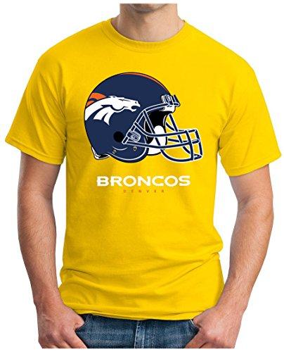 OM3 Denver Broncos - T-Shirt | Herren | American Football Shirt | Super Bowl 52 LII | NFL | S - 5XL Gelb