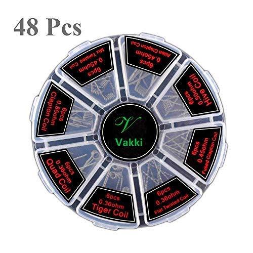 Vakki vorkompilierte Coil Kit 8 in 1 Fertigcoil Coil Kit, Drähte E Zigarette fertig gewickelt für RDA, RBA, RDTA, 48 Pcs, Fused Clapton Coil, Twisted, Hive, Quad, Kanthal