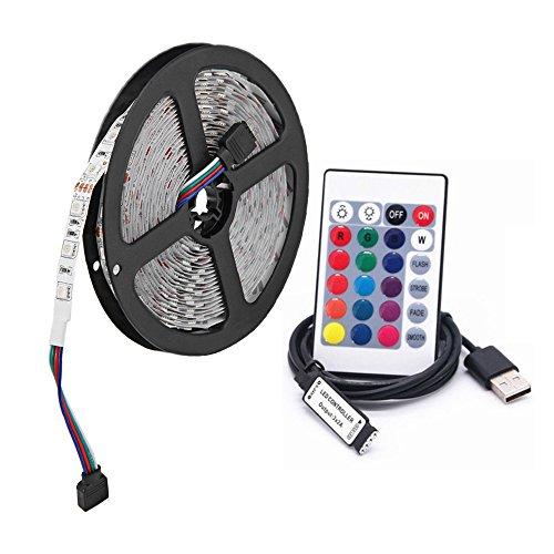 USB RGB LED Streifenlicht, 5M 60 leds/m DC 5V 5050 RGB Bunte LED Beleuchtung mit 24-Key Fernbedienung Für TV Hintergrundbeleuchtung,seil Beleuchtung,küche Decor Led streifen Lampe(nicht wasserdicht) (Led-seil-beleuchtung Küche)