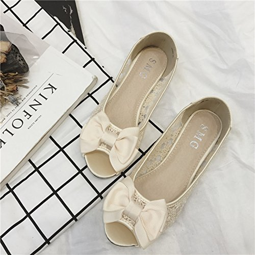 WYMBS Le cadeau le plus intime Nouvelle astuce de poissons-dentelle chaussure basse femme chaussures de travail pour de plus grandes chaussures femmes chaussures apricot