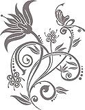 GRAZDesign 850123_30_090 Wandtattoo Blumen-Ornament mit Swarovski Kristallen | Wand-Aufkleber als Deko Wohnzimmer (39x30cm//090 Silbergrau//Swarovski Elements Set 12 Stück)