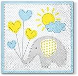 20 Servietten Süßer Elefant blau / Geburt / Taufe / Kinder / Junge 33x33cm