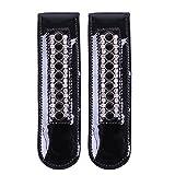 QHP Stiefel-Clip Beyonce (Lack)Leder-Clip mit Strass zum Aufpeppen Ihrer Stiefel 'Pimp Ihre Stiefel' (Schwarz/Schwarz)