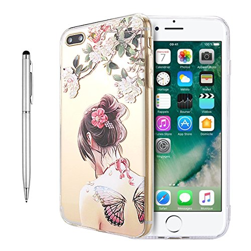 iPhone 8 Plus Hülle, Fraelc iPhone 7 Plus Weich Silikon Rahmen Handyhülle Transparent Schlank Schutzhülle Crystal Clear TPU Bumper Case für Apple iPhone 7 Plus / iPhone 8 Plus (5,5 Zoll) mit Blau Rosa Schmetterling