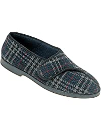 Gbs Touch Fastened Textile Lined Mens Slippers - Checkered - Size 6 7 8 9 10 11