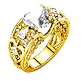 FEITONG Verlobungsringe Edelstein für Damen und Männer, Rubin Edelsteine Ringe Herz Ringe Edelstahl Schmuck, Gold Silber (Größe:10(20mm), Gold-Weiß)