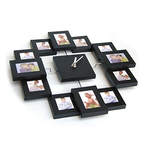 Design Bilderrahmenuhr mit 12 Rahmen für Erinnerung, moderne Foto-Wanduhr, Kombination aus Uhr und...