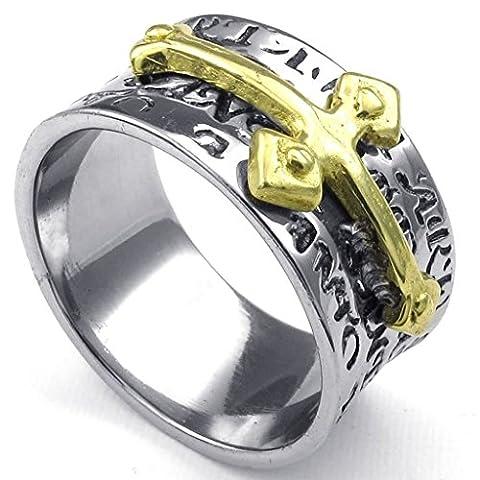 Beydodo Edelstahl Ring für Männer Kreuz Silberringe für Ihn Ringgröße57 (18.1)