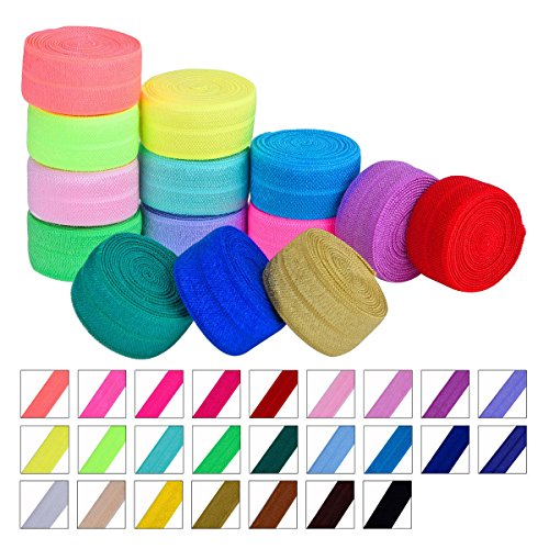 Frcolor 25 Stück Band elastisch Foldover Gummibänder Stretch Haar Krawatten Stirnbänder