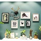 Unbekannt Bilderrahmen Fotorahmen Hirschkopf Dekoration Foto Wand Bilderrahmen Kombination Restaurant Schlafzimmer Flur Wohnzimmer Sofa Hintergrund Wand (Farbe : B)